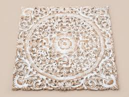 shining ideas wood carving wall art home decor white wash panel by siamsawadee balinese asian flower on bali wood carving wall art with shining ideas wood carving wall art home decor white wash panel by