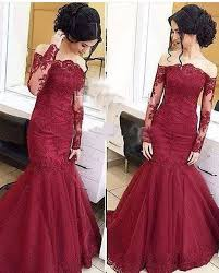 Mermaid Burgundy Long Sleeve Prom Dresses Tulle Amazing Lace Off The Shoulder Evening Dresses Party Gowns