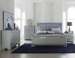 MARIN- Modern 5pcs Grey King LED Lighted Headboard Mirror Bedroom ...