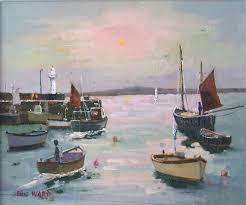 eric ward original painting morning sun at st ives harbour 390 at