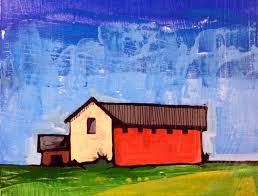 Simple Painting Red Barn 8 X 8 X 5 Original Acrylic Painting Simple Painting