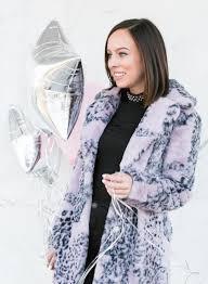 sydne style shows the best winter coats in guess leopard faux fur purple jacket