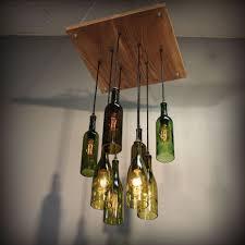 How To Make Pendant Lights From Wine Bottles Repurposed Wine Bottle Pendant Chandelier Wood Frame Hanging