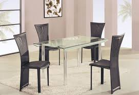 high class rectangular glass top dining furniture set modern throughout table idea 17