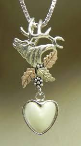 custom made black hills gold on silver heart shape elk ivory necklace