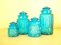 blue kitchen canisters sets teal canister us and white glass tall cobalt