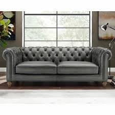 allington 3 seater grey leather