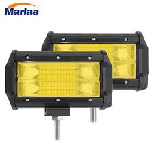 Yellow Light Bars For Trucks Us 18 05 21 Off 2pcs Yellow 5 Inch 72w Modified Car Top Led Light Spot Work Lamp With Two Rows Light Bars For Offroad Auto Pickup Wagon In Light