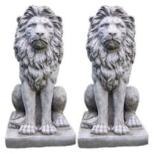 Small Picture LARGE PROUD LION STATUE PAIR Stone Garden Ornament Patio Home