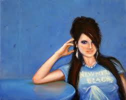 oil painting photo blue girl