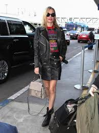 kate bosworth wears etro s colorblock graphic sweater with an anine bing biker jacket frame leather
