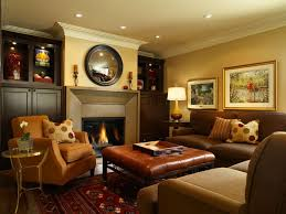 Living Room:Basement Family Room Remodel Ideas With Exposed Stone Wall Also  Corner Fireplace Plus