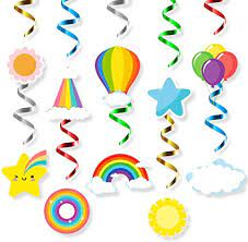 We have you covered with all your festive essentials, starting with hanging party decor. Amazon Com Mallmall6 Rainbow Hanging Swirls Decorations Birthday Party Supplies Colorful Rainbows Cloud Star Balloon Whirl Streamers Ceiling Spiral Room Baby Shower Decoration Spring Summer Party Favors For Kids Toys Games