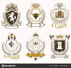 Vintage Illustrations Set Old Style Heraldry Vector Emblems Vintage Illustrations