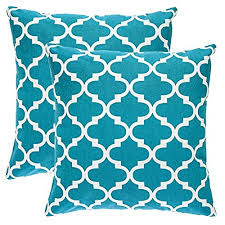 teal throw pillows. TreeWool, (Pack Of 2) Trellis Accent Throw Pillow Covers In Cotton Canvas (16 X 16 Inches; Teal) Teal Pillows O