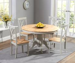 mark harris elstree painted oak and grey round dining table with 4 chairs