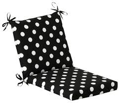 polka dot squared corners chair cushion black contemporary outdoor cushions and