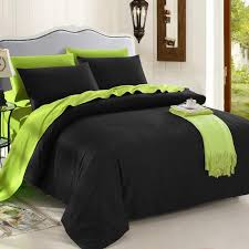 trendy black and lime green solid colored reversible 100 organic cotton full queen king size bedding sets