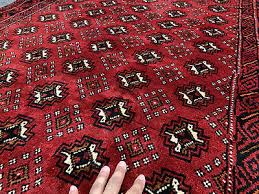 4x7 red black persian rug antique caucasian hand knotted wool bokara gul 4x6 ft