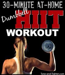 30 minute hight intensity interval workout with weights at home dumbbell hiit workout