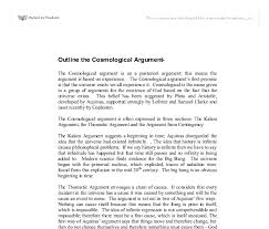 outline the cosmological argument a level religious studies  document image preview
