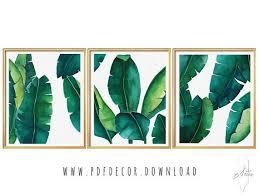 tropical leaves set banana leaf set of 3 wall art set of 3 on tropical wall art sets with tropical print sets passion decor fashion jpeg pdf high