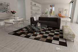 gray and brown patchwork cowhide rug squares design genuine leather hair on hide carpeting cost berber rugs from rugfur 803 02 dhgate com