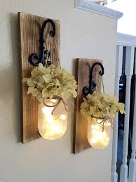 rustic mason jar sconce with