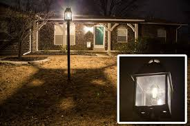 led vintage light bulb st18 shape edison style antique bulb with filament led installed in outdoor light fixture
