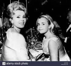 Actress Zsa Zsa Gabor at a party with daughter Stock Photo - Alamy