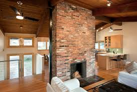 Fireplace at the center contemporary-living-room