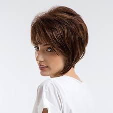 3999 Paruka Na Vlasy Bez Vlasů Přírodní Vlasy Vlnitá Střih Pixie Krátké účesy 2019 Styl Přírodní Vlasová Linie Tmavě Hnědá Bez