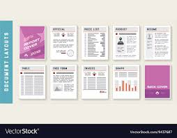 Document Report Layout Templates Set Royalty Free Vector