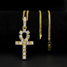 uk mens pharoah ankh gold iced out real crystals hip hop cuban chain necklace