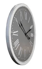 extra large distressed white and grey wooden wall clock lk916