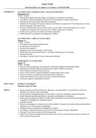 Pianist Resume Sample Accompanist Resume Samples Velvet Jobs 9