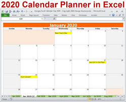 Calendar Yearly 2020 2020 Calendar Year Planner Excel Template 2020 Monthly Planner Calendars Year 2020 Planner Calendar Spreadsheet Digital Download