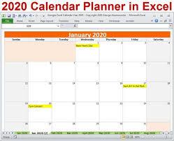 Microsoft Excel Calendar 2020 2020 Calendar Year Planner Excel Template 2020 Monthly Planner Calendars Year 2020 Planner Calendar Spreadsheet Digital Download