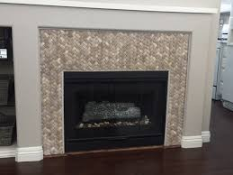 3d tan basket weave stone tile fireplace surround