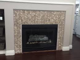 3d tan basket weave stone tile fireplace surround
