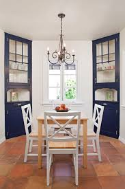 decorating eclectic dining room with spanish tile flooring and