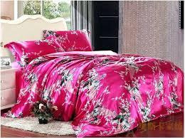 hot pink bedding set bed sheets peacock feather print silk for king queen full twin size hot pink bedding