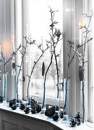 Weihnachten Deko Am Fenster Weiße Farbe Baumzweige 27