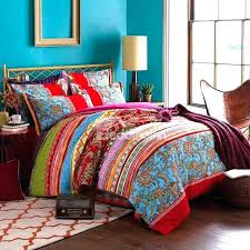 interesting duvet covers uk bedding sets colorful stripes and jacobean print boho style cotton 4 piecefunky super king size duvet cool duvet covers canada