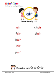 Phonics worksheets to support your child's learning and help them prepare for the year 1 phonics screening check. Explore And Learn Words From Air Word Family Kidzezone