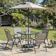 oasis patio set outdoor garden furniture 7 piece folding chairs table parasol