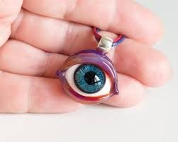 glass eye pendant necklace gift for