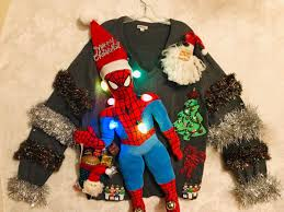Spiderman Christmas Lights Spiderman Ugly Christmas Sweater With Lights And Lots Of