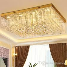 dimmable led chandeliers ceiling mounted led rectangle european modern romantic crystal ceiling lights for living room villa home decoration ceiling