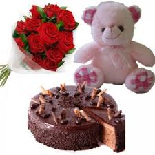 gifts to ahmedabad red roses with chocolate truffle cake teddy